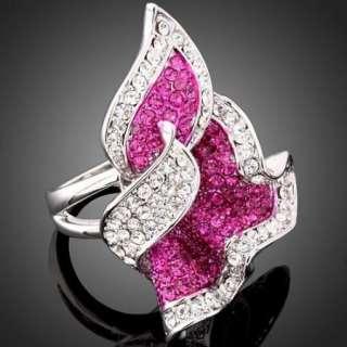Fuschia Flower ARINNA Swarovski Crystal Cocktail Ring