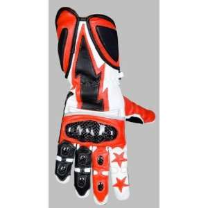 Red & White Kevlar Leather Motorcycle Bike Gloves S XL