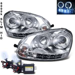 Xenon HID Kit+06 08 Vw Golf Jetta Halo LED Projector Head Lights Lamp