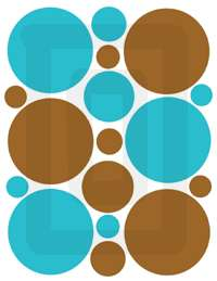 BROWN BLUE CIRCLE POLKA DOTS WALL STICKERS DECALS DECOR