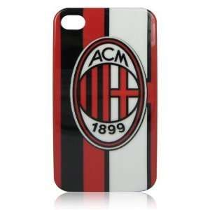 and Black Vertical Strip Ac Milan Football Club Hard Case for Iphone 4
