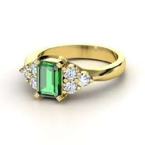 Apex Ring, Emerald Cut Emerald 14K Yellow Gold Ring with