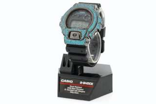 CASIO G SHOCK 6900 WATCH SIMULATED DIAMOND PAVE CUSTOM TEAL BLUE BEZEL