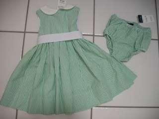 New RALPH LAUREN Girl 18 M 2 3 4 6 6X Blue Green Pink Seersucker Dress
