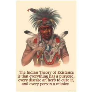 Theory of Existence by Proverb Native American. Size 28.75 X 19.75 Art