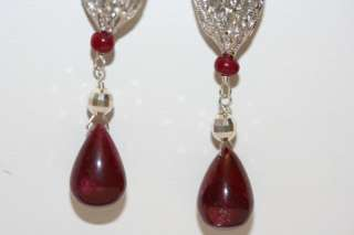 Sterling Silver natural Madagascar Ruby drop earring ~