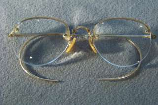 ANTIQUE 12 K YELLOW GOLD FILLED CLASSIC EYE GLASS FRAMES CASE