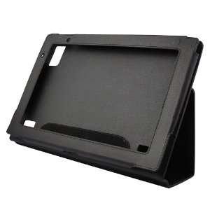 Premium Black Leather Folio Cover Case with Built in Stand + Mini