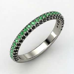 Slim Pave Band, 14K White Gold Ring with Emerald & Black