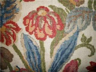 Throw pillow KRAVET COUTURE raw linen fabric printed floral design
