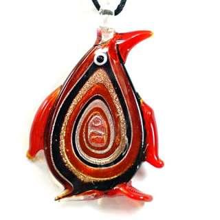 Penguin Multi Colors Murano Lampwork Glass Pendant Chain Necklace