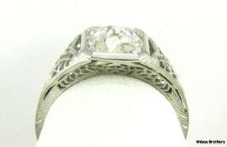 62ct Rose Cut DIAMOND Antique Engagement RING   18k White Gold A+