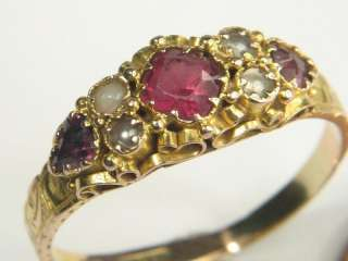ANTIQUE VICTORIAN ENGLISH 15K GOLD GARNET PEARL RING c1870