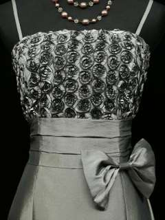 Satin Grey Rose Long Ball Gown Wedding/Evening Dress UK 18 20