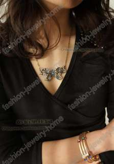 fashion crystal imitate pearl butterfly Necklaces Pendant