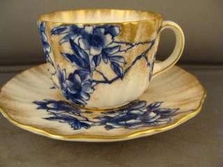 DOULTON BURSLEM FLOW BLUE FLORAL & GOLD CUP/SAUCER