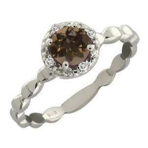 Brown Smoky Quartz and White Topaz Argentium Silver Ring Jewelry