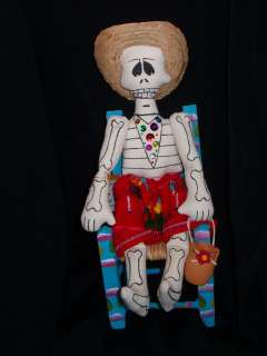 Mexican Folk Art Day of the Dead skeleton Ragg Doll