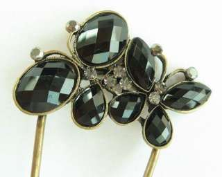 SWAROVSKI CRYSTAL BRONZE 2 BIG BUTTERFLY HAIR STICK PIN PICK 381