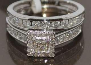 WEDDING SET BRIDAL 1CT WHITE GOLD PRINCESS CUT SQUARE TOP 2PC