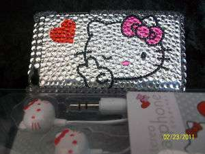 HELLO KITTY IPOD Touch 4g Case Cover 3.5mm Earbud Set Peace Okay