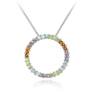 Glitzy Rocks Sterling Silver Multicolor Circle Necklace Jewelry