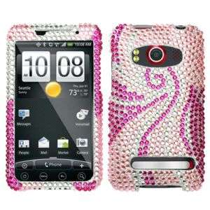 Pink Tail Crystal Bling Hard Case Cover for HTC EVO 4G