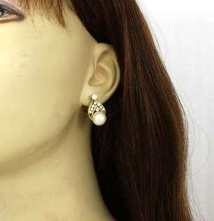 STYLISH 14K GOLD, DIAMONDS & PEARLS HUGGIE EARRINGS