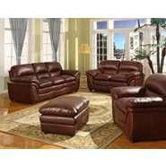 Baxton Studio Redding Cognac Brown Leather Modern Sofa Set at