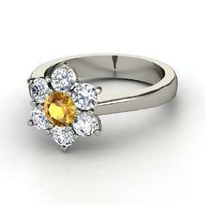 Posy Ring, Round Citrine 14K White Gold Ring with Diamond Jewelry