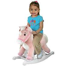 Rockin Rider Animated Plush Rocking Horse   Talking Pink Pony   Rock