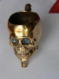 WWI Imperial Russian doctors gold plated silver Skull cup/goblet.Very