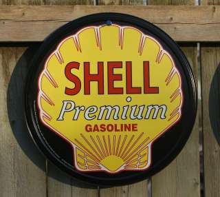 Shell Motor Oil Round Tin Sign Garage Man Cave Premium Gasoline Royal