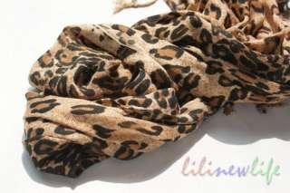 Leopard Print Pashmina Shawl Scarf Wrap Brown