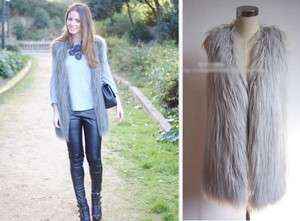New Fashion Women Vintage Trend Celeb Gray long Faux Fur Vest