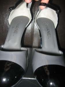 CHANEL Patent Metallic Heel Mary Jane Pumps Shoes 42 12