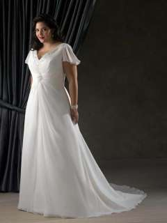 Sleeve V neck Bead Chiffon Wedding Dress Bridal Gown Prom Party