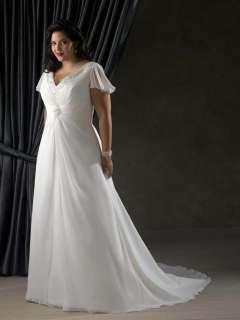 Sleeve V neck Bead Chiffon Wedding Dress Bridal Gown Prom Party