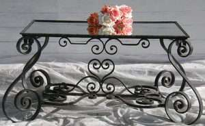 early VINTAGE FRENCH COFFEE TABLE OCCASIONAL WROUGHT IRON MIRROR TOP