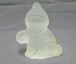 frosted glass santa claus christmas figure with original foil label he