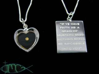 STERLING SILVER Mustard Seed Heart & Quote Necklace New