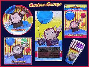 GEORGE Birthday Party Set Plates Napkins Treat Bags Table Cover Cups