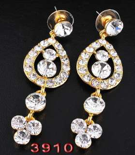Free H32369 clear peacock bridal Necklace Earring 1set gold plated