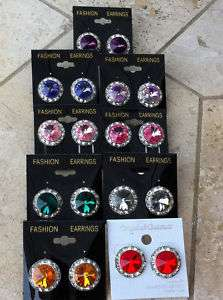 Large 3/4 Crystal Rhinestone Dance Earrings Pierced