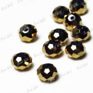 72pcs Special Effects Gold Rondelle Cut Faceted Crystal Glass Beads 8