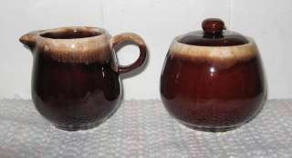 Vintage 70s McCoy Brown Drip Cream & Sugar Set EXCLL