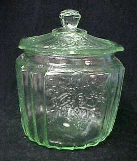 Green Depression Glass Cookie Biscuit Jar Mayfair New L