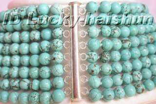 Genuine 8row natural round turquoise bead necklace