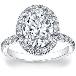 Oval Cut Halo French Pave Diamond Engagement Ring GIA
