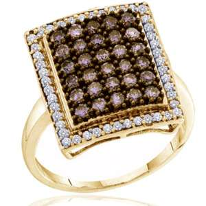 CT Chocolate & White Diamond Pave Ring Yellow Gold